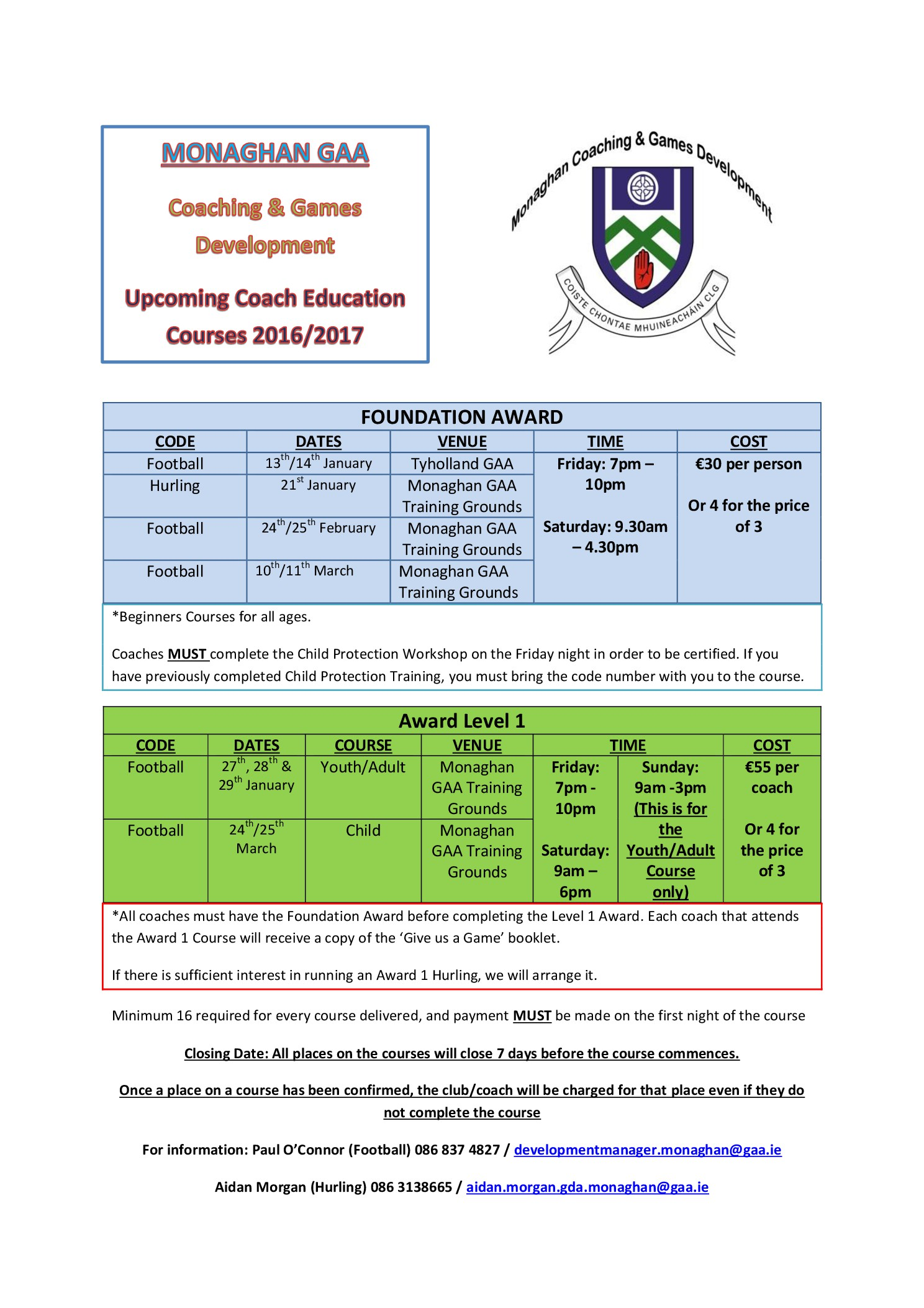 Upcoming Coach Education Courses….