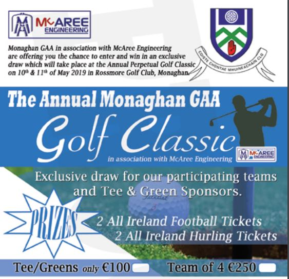 Exclusive Draw for this year's Monaghan GAA in association with McAree Engineering Golf Classic
