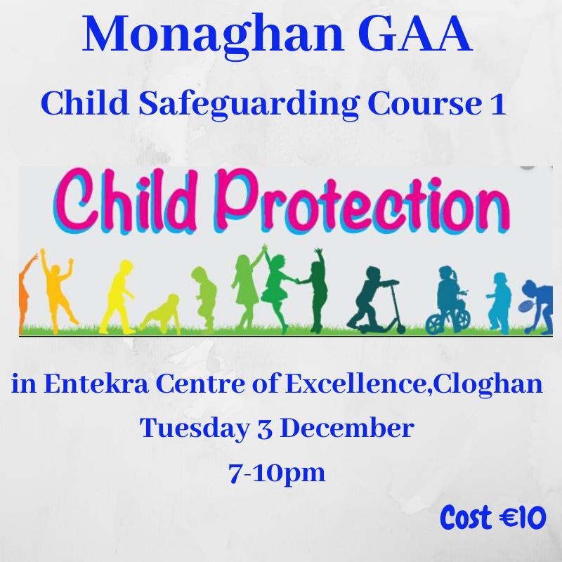 Child Safeguarding Course 1  – Tuesday 3rd December