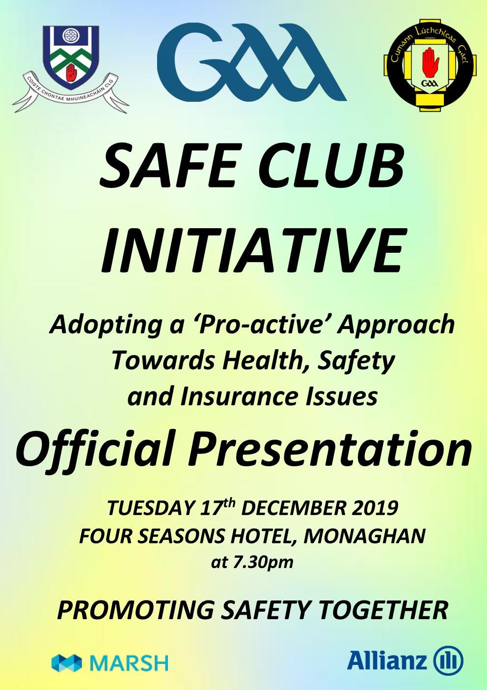 Safe Club Presentation Night – TUESDAY 17thDECEMBER