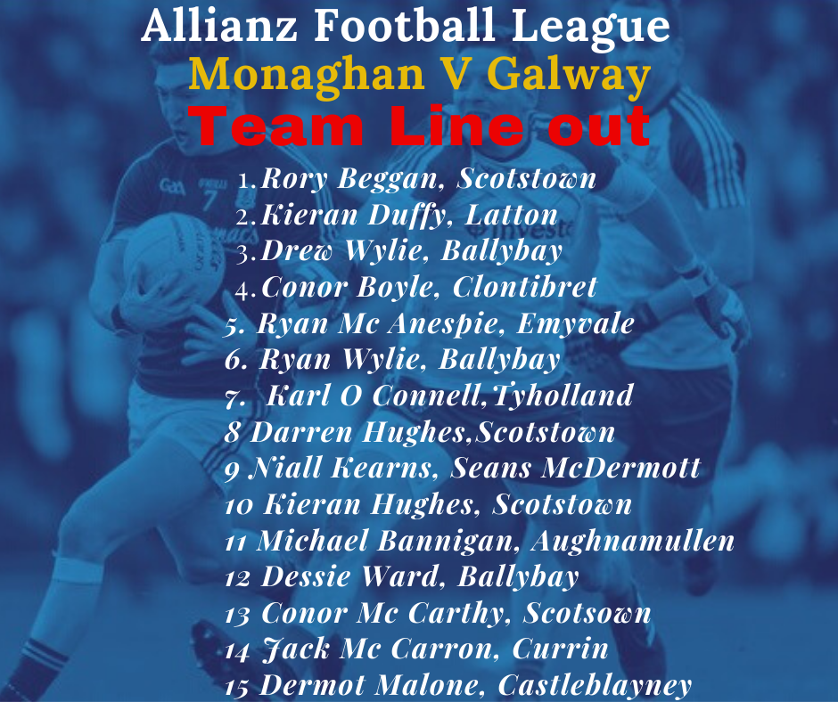 Allianz Football League Monaghan V Galway – Team announced!