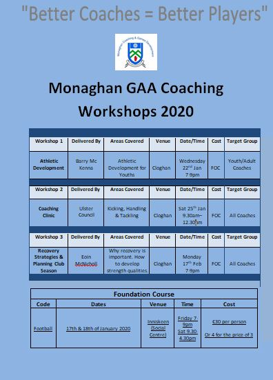Monaghan Coaching & Games Workshop Plan for 2020