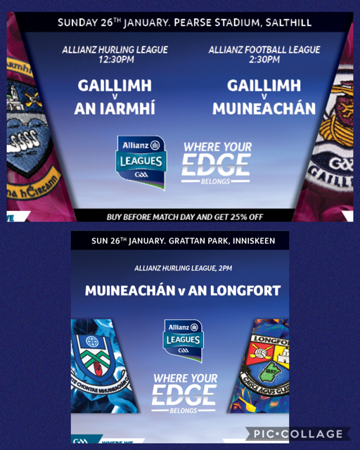 Remember to get your Allianz Football League Tickets today and get 25% off!!