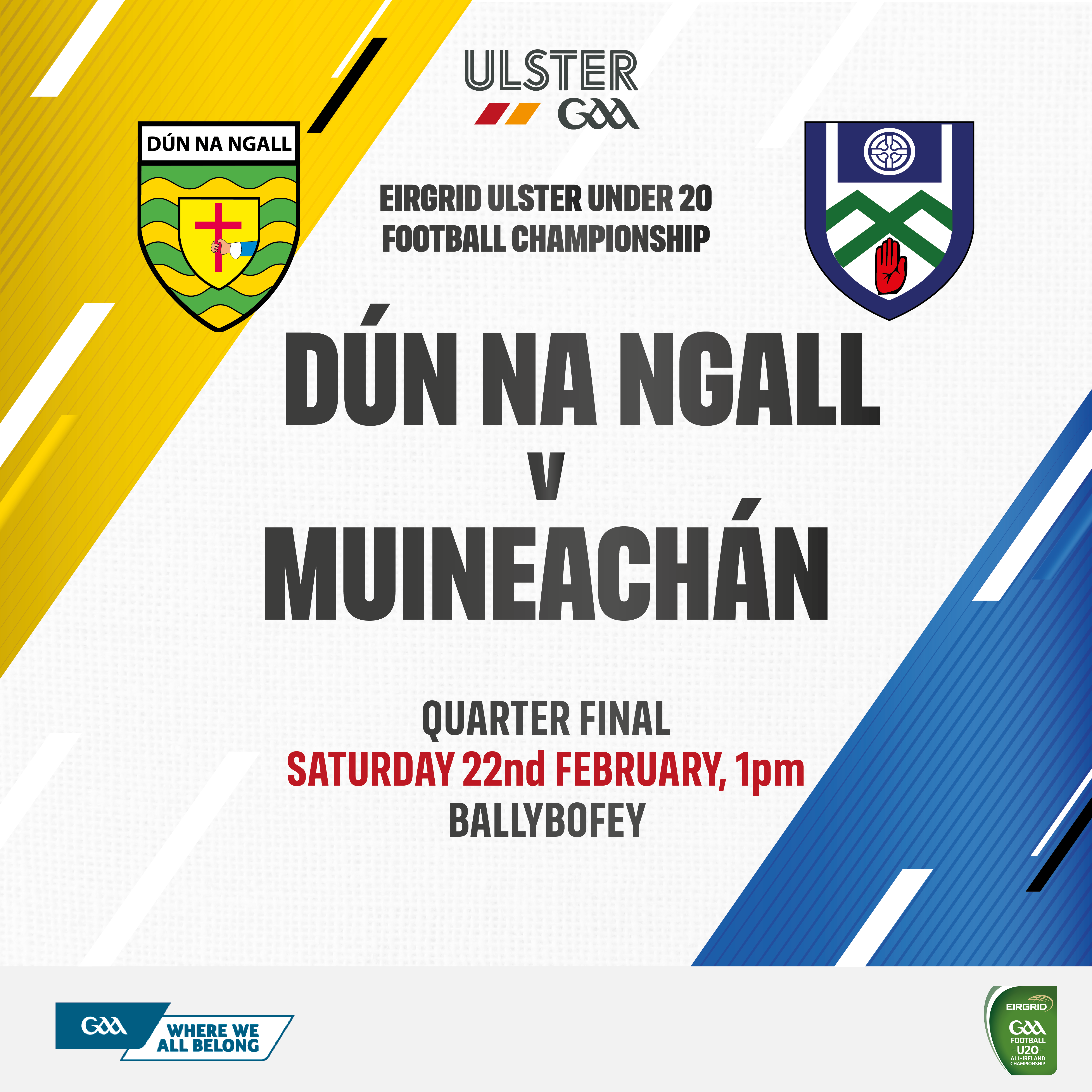 EirGrid Ulster U20 Football Championship Quarter Final  Monaghan V Donegal – Buy your tickets online today