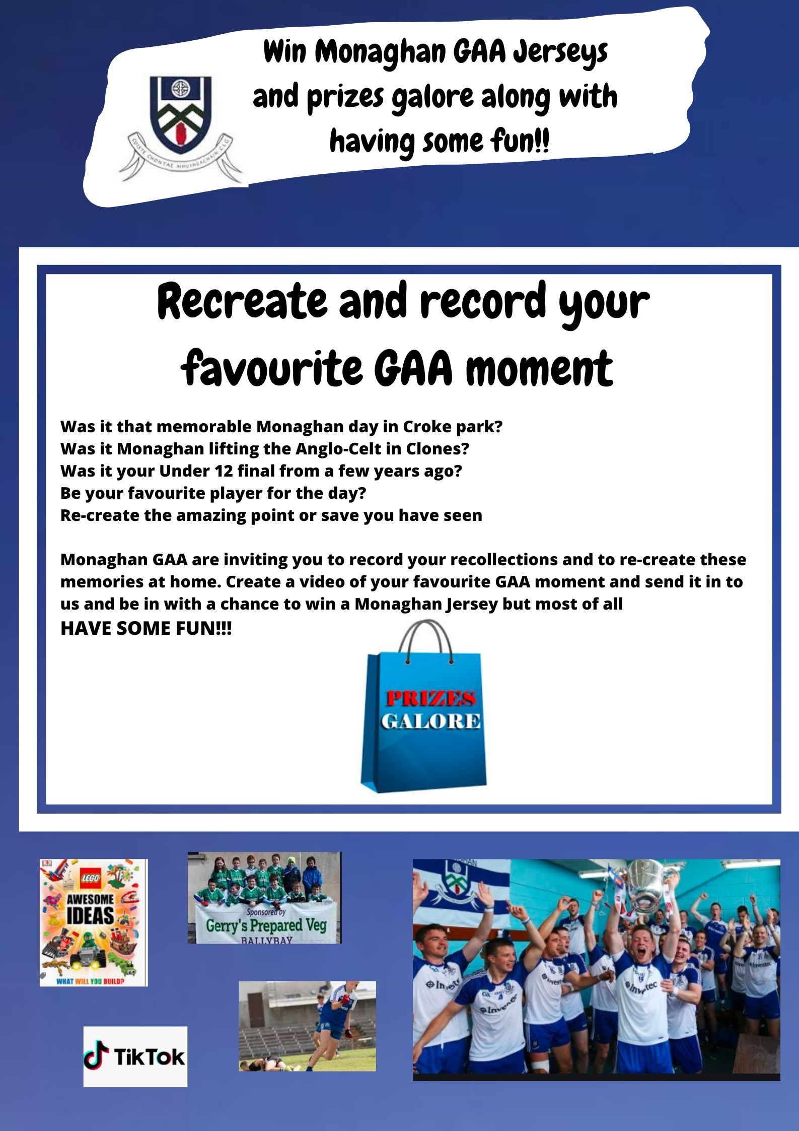 Win Monaghan GAA Jerseys and prizes galore just by having Fun!
