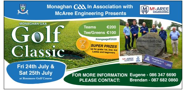 It's Finally here… Good Luck to all our Golfers in the Monaghan GAA in association with McAree Engineering Golf Classic