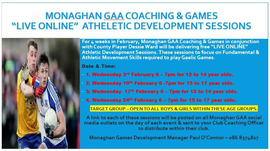 """U15 to U17 """"Live Online"""" Athletic Development Session this evening @ 6pm with Dessie Ward"""