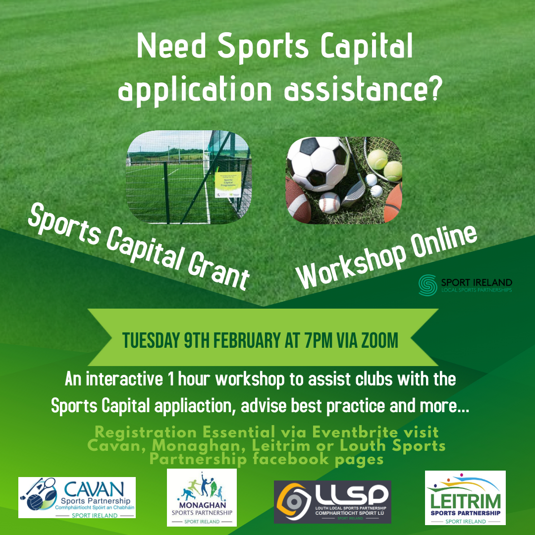 FREE Sports Capital Grants Workshop online on February 9th 2021