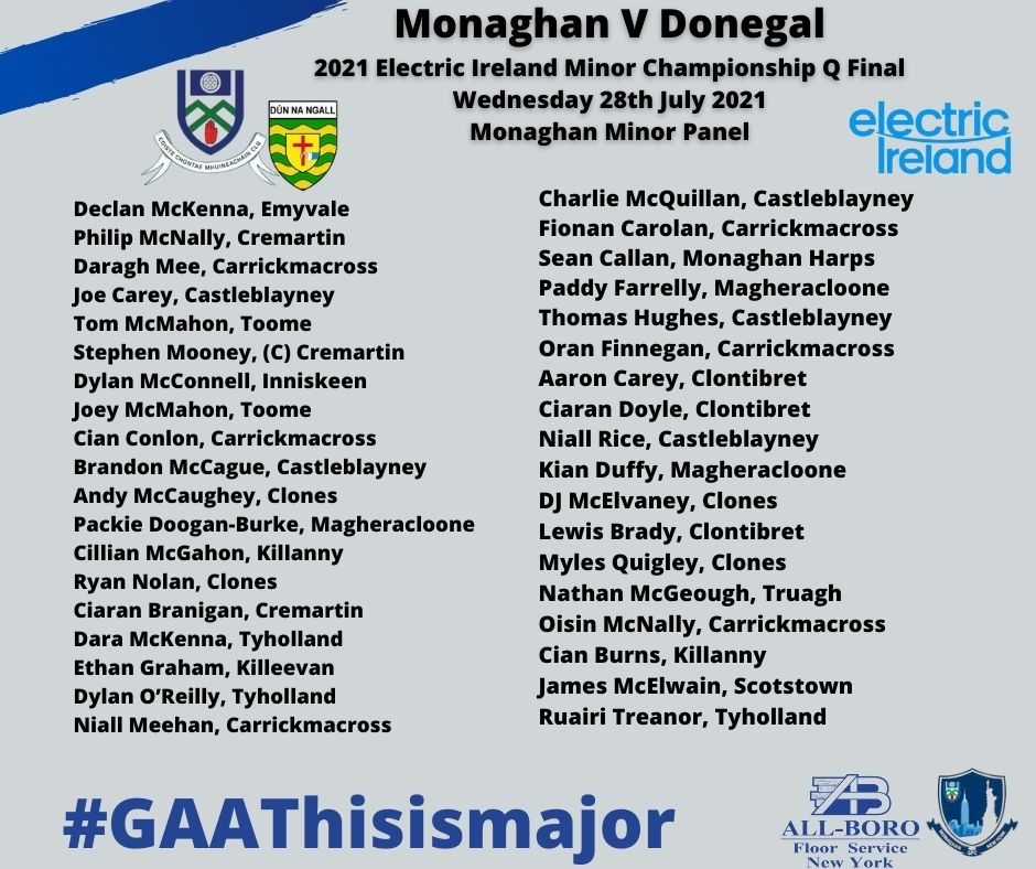 Best of Luck to the Monaghan GAA Minors – Tonight Wednesday the 28th of July