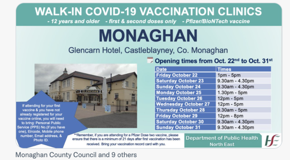 MONAGHAN – COVID-19 WALK-IN VACCINATION CLINIC